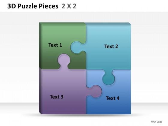 3d puzzle pieces 2x2 powerpoint presentation slides. Black Bedroom Furniture Sets. Home Design Ideas